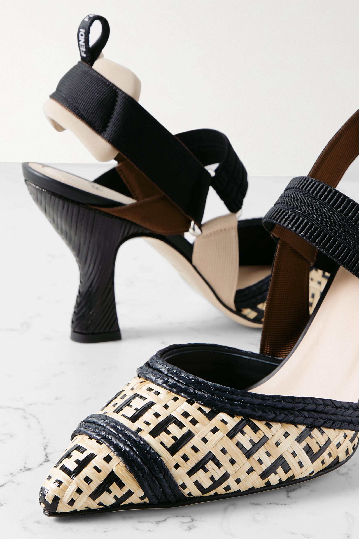 Fendi Colibri grosgrain and woven raffia slingback pumps