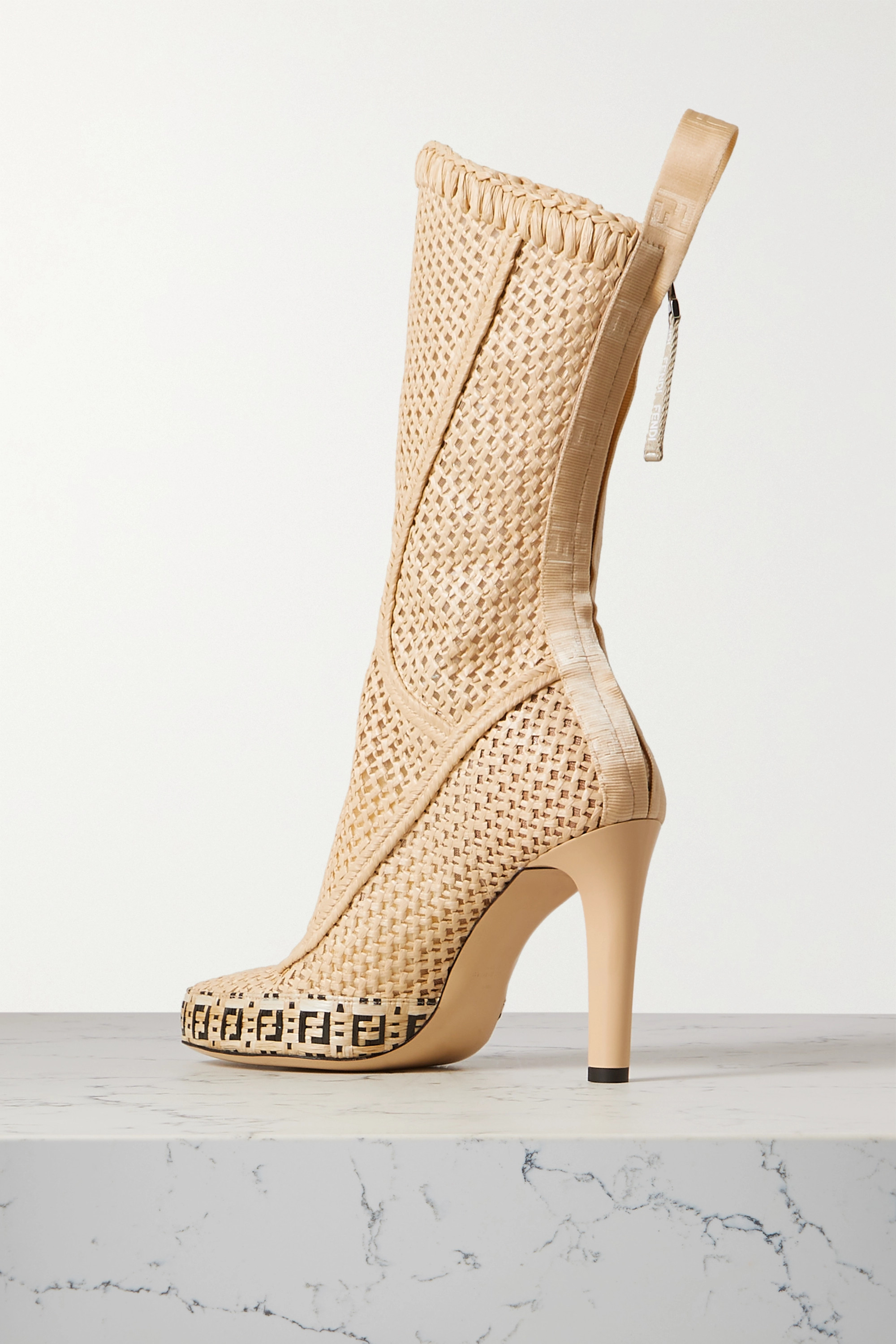 Fendi Logo-jacquard raffia boots
