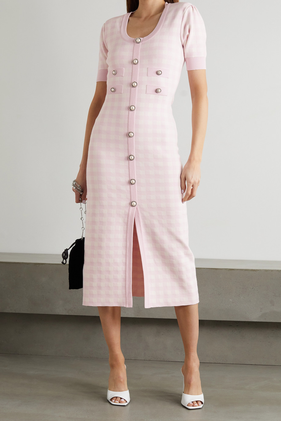 Alessandra Rich Button-embellished gingham knitted midi dress