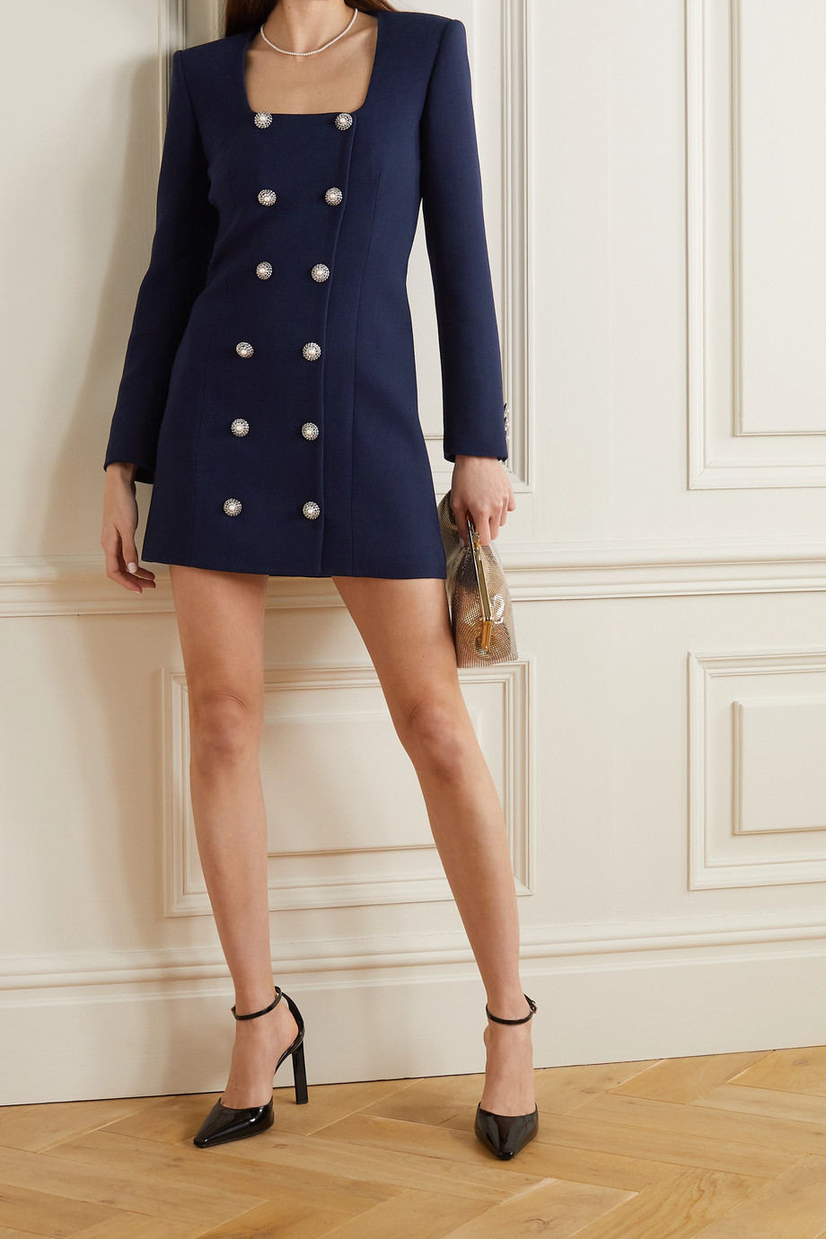 Alessandra Rich Double-breasted embellished wool-blend crepe mini dress