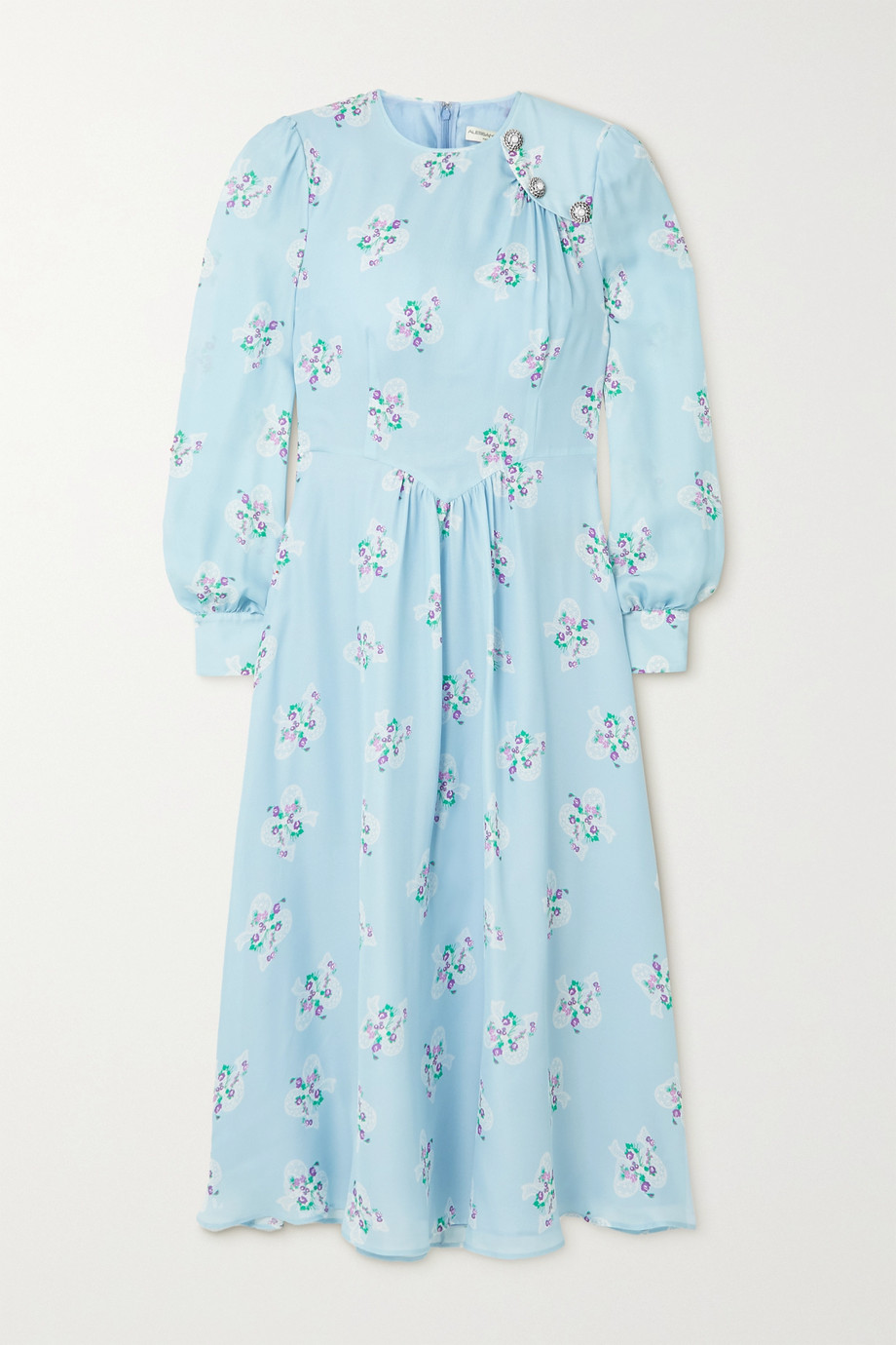 Alessandra Rich Button-embellished floral-print silk crepe de chine midi dress
