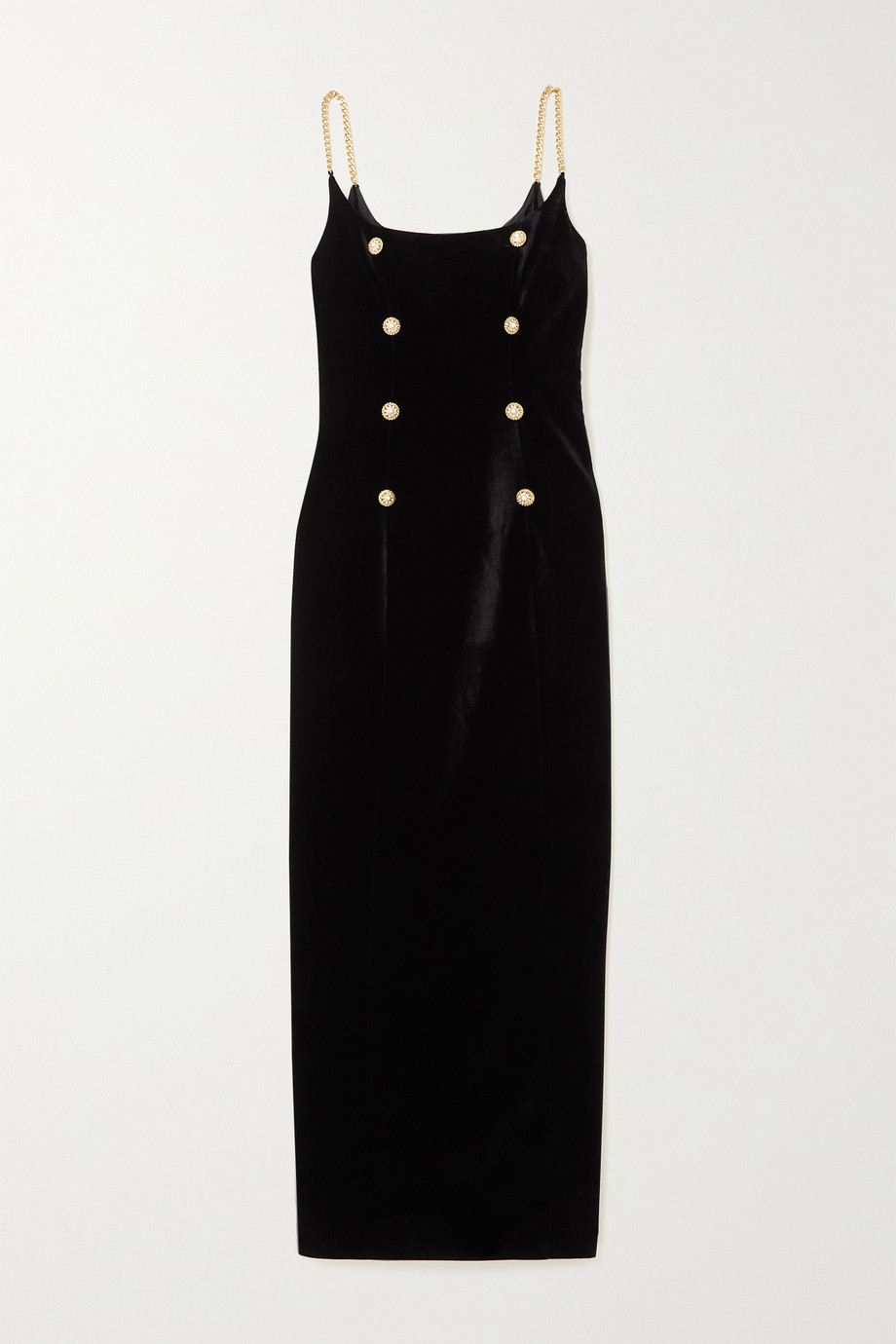 Alessandra Rich Chain and button-embellished velvet midi dress