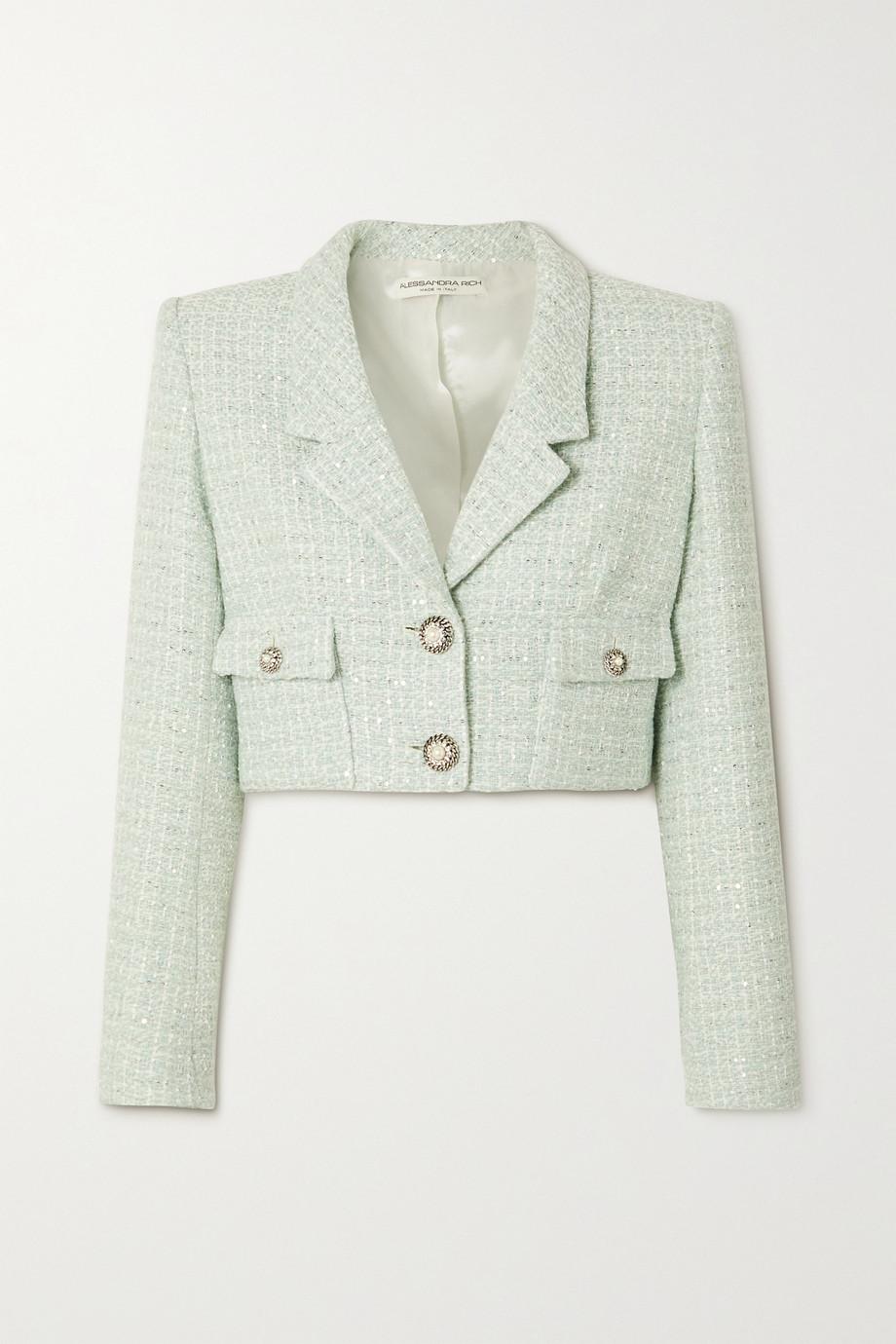 Alessandra Rich Cropped embellished sequined wool-blend tweed jacket
