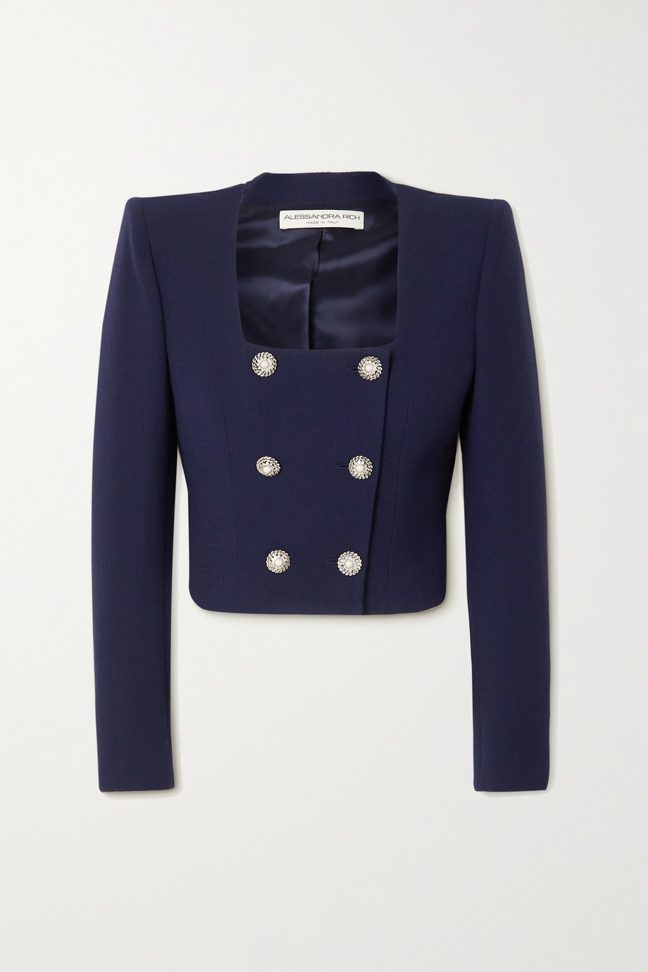 Alessandra Rich Crystal-embellished double-breasted wool-blend crepe jacket
