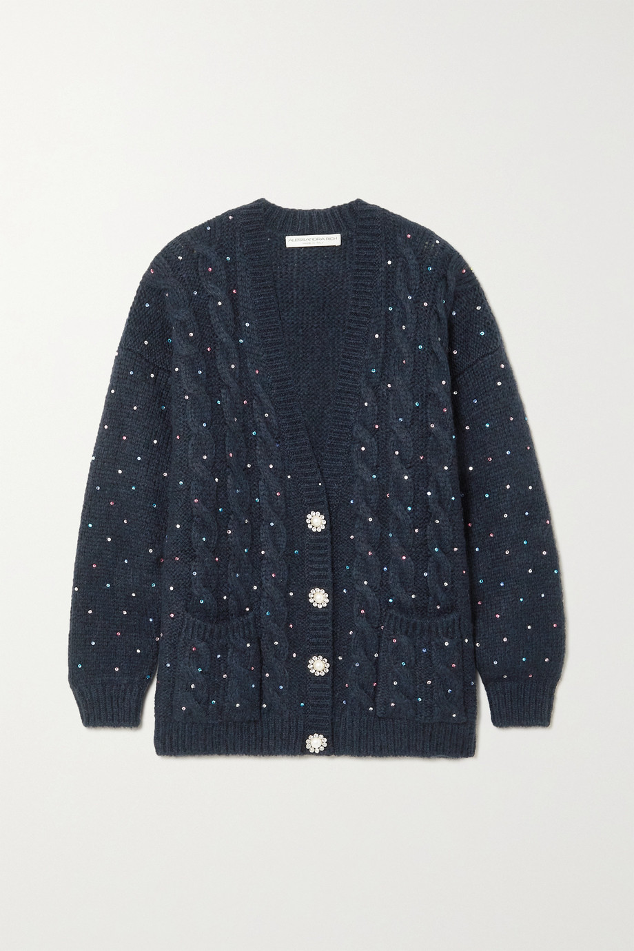 Alessandra Rich Embellished cable-knit alpaca-blend cardigan