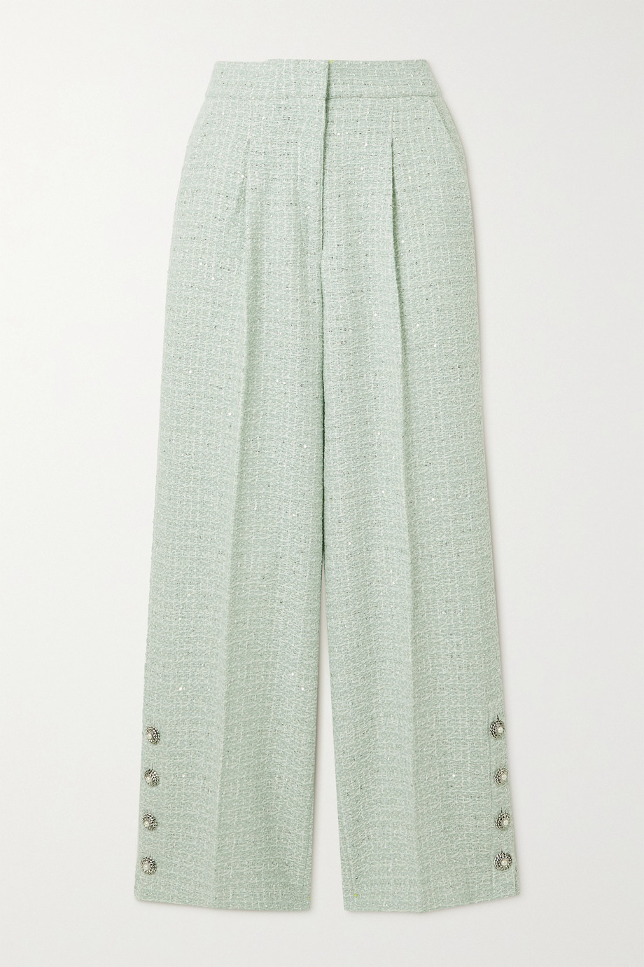 Alessandra Rich Button-embellished sequined wool-blend tweed straight-leg pants