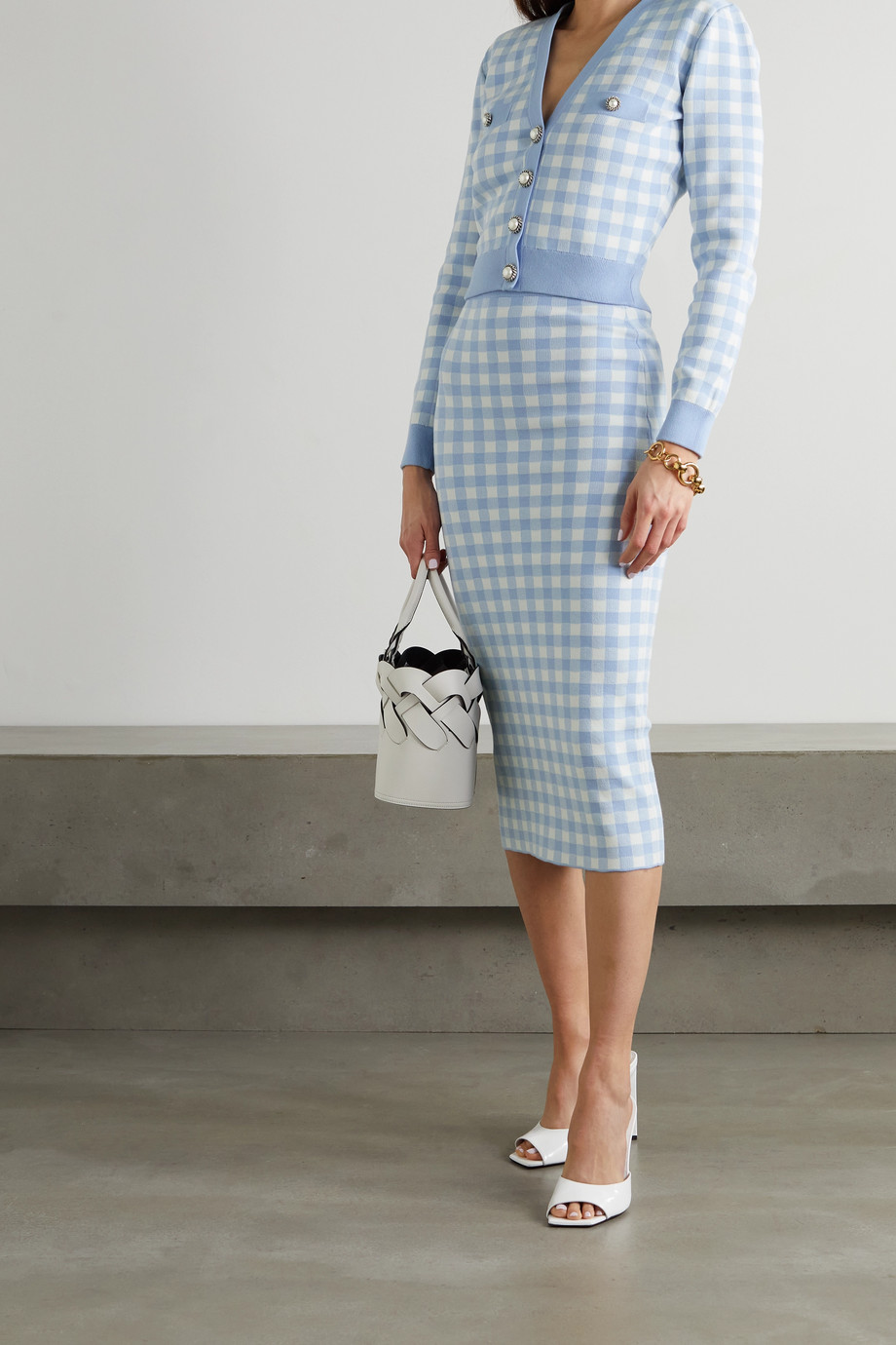 Alessandra Rich Button-embellished gingham knitted cardigan