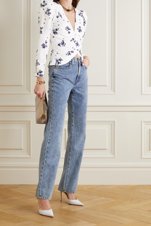 Alessandra Rich Jacke aus Seiden-Jacquard mit Blumenprint