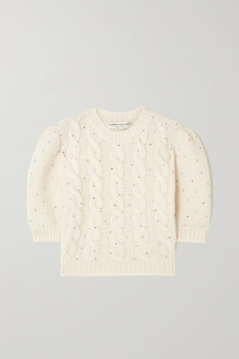 Alessandra Rich Cropped crystal-embellished cable-knit alpaca-blend sweater