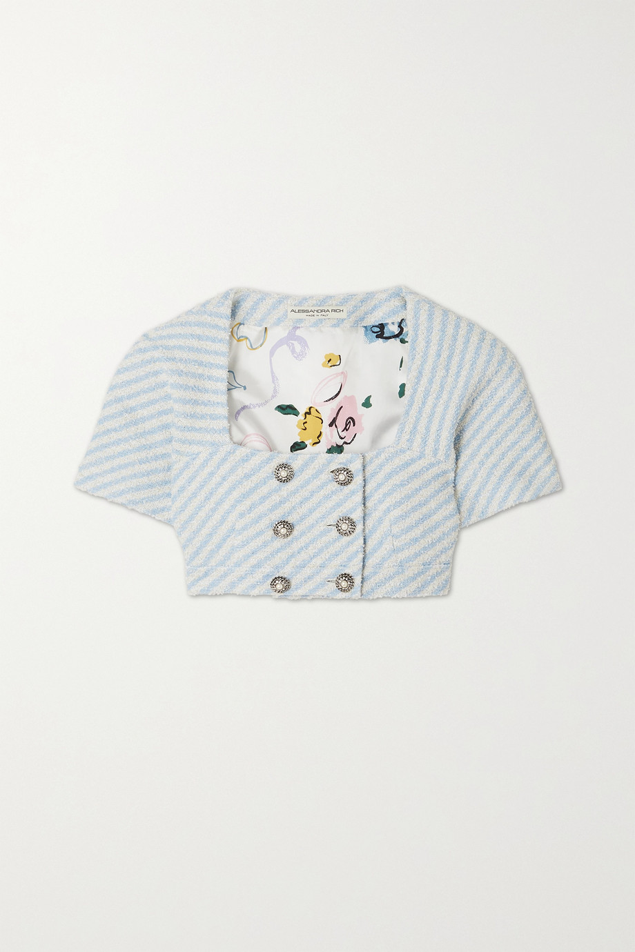 Alessandra Rich Cropped metallic striped cotton-blend tweed jacket