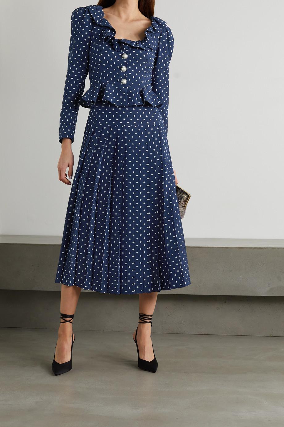 Alessandra Rich Pleated polka-dot silk midi skirt