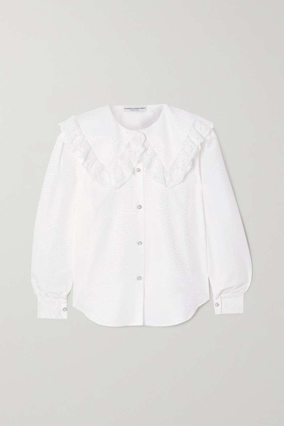Alessandra Rich Ruffled lace-trimmed cotton and silk-blend jacquard blouse