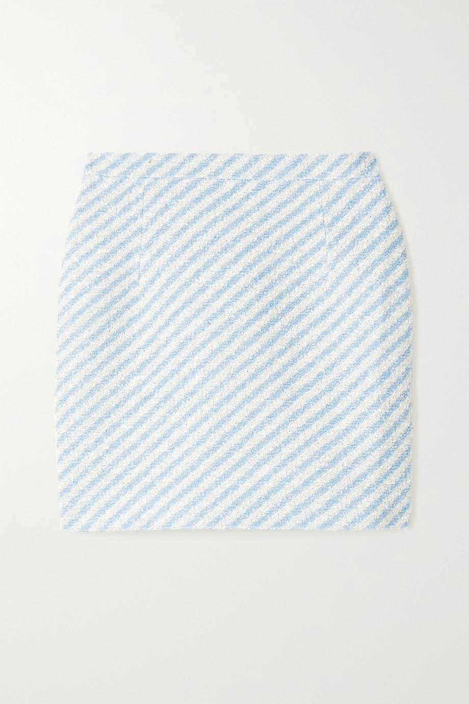 Alessandra Rich Minirock aus gestreiftem Tweed aus einer Baumwollmischung in Metallic-Optik