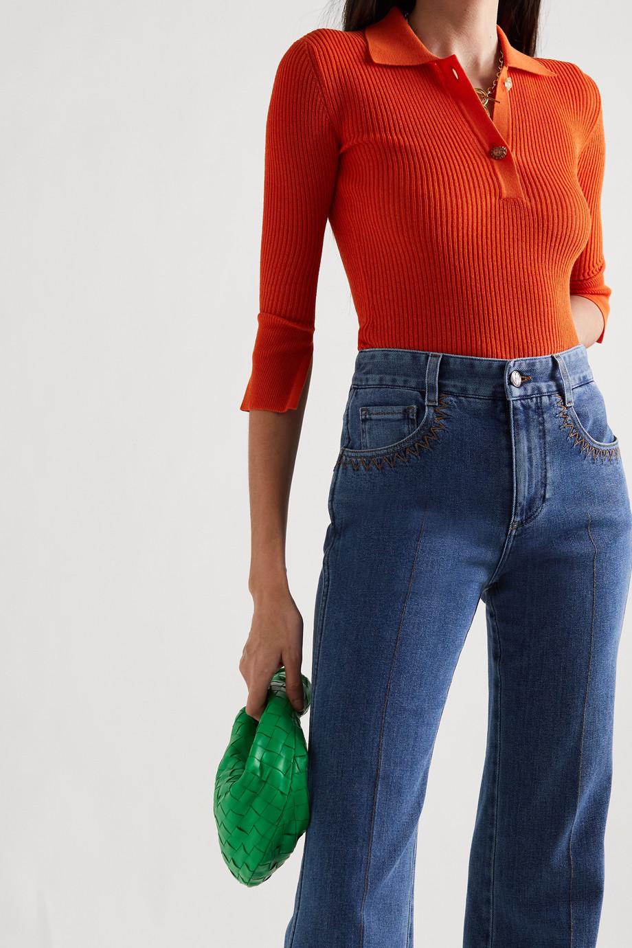 REJINA PYO Andi ribbed cotton-blend polo shirt