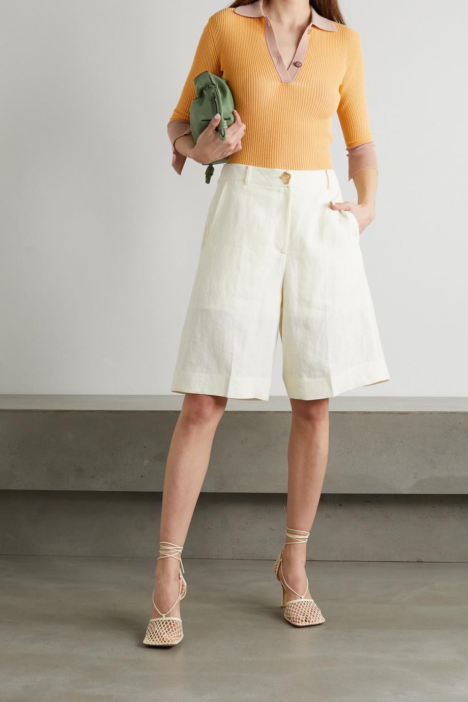 REJINA PYO Andi two-tone ribbed cotton-blend polo shirt