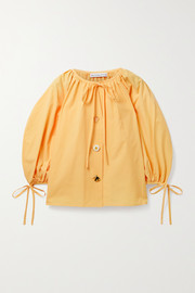 REJINA PYO Scout tie-detailed organic cotton-poplin blouse