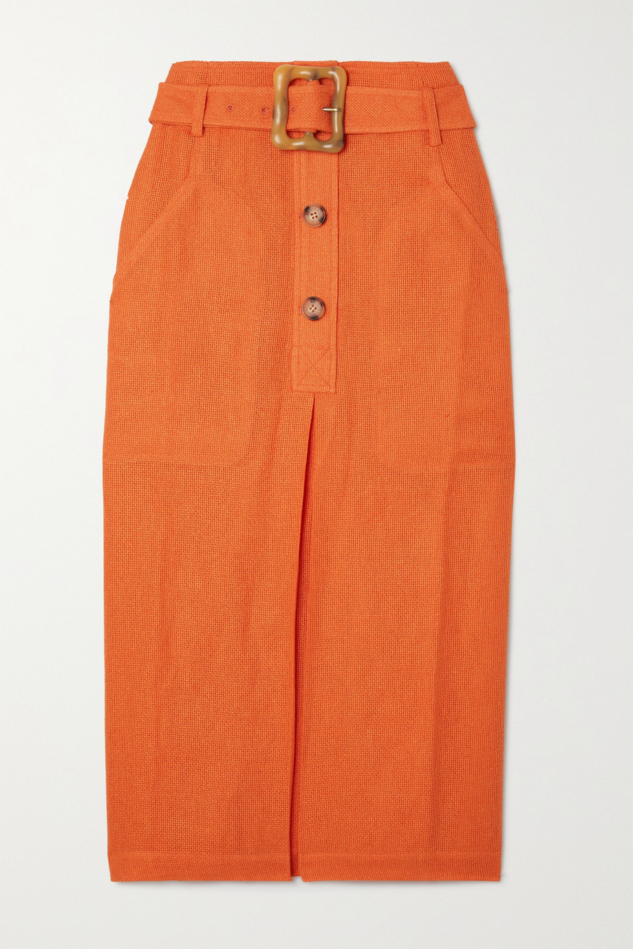REJINA PYO Tasmin belted woven midi skirt