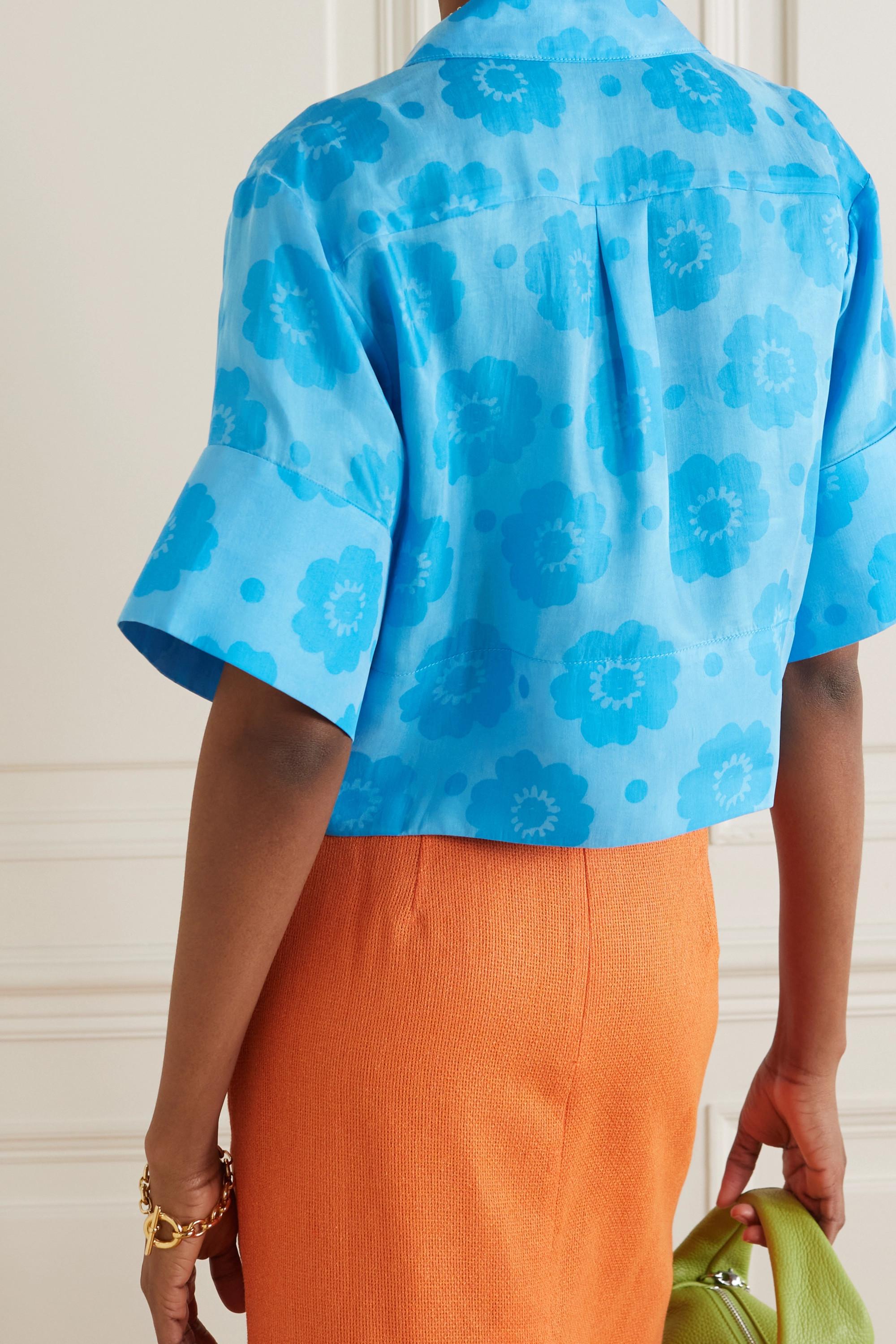 REJINA PYO + NET SUSTAIN Meryl cropped printed Fillsens Lyocell shirt