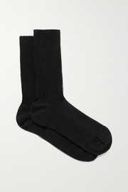Baserange Ribbed cotton-blend jersey socks