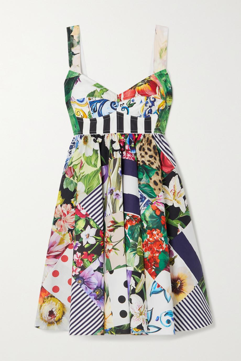 Dolce & Gabbana Mini-robe patchwork en popeline de coton mélangé imprimée
