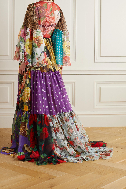 Dolce & Gabbana Robe aus bedrucktem Seidenchiffon in Patchwork-Optik