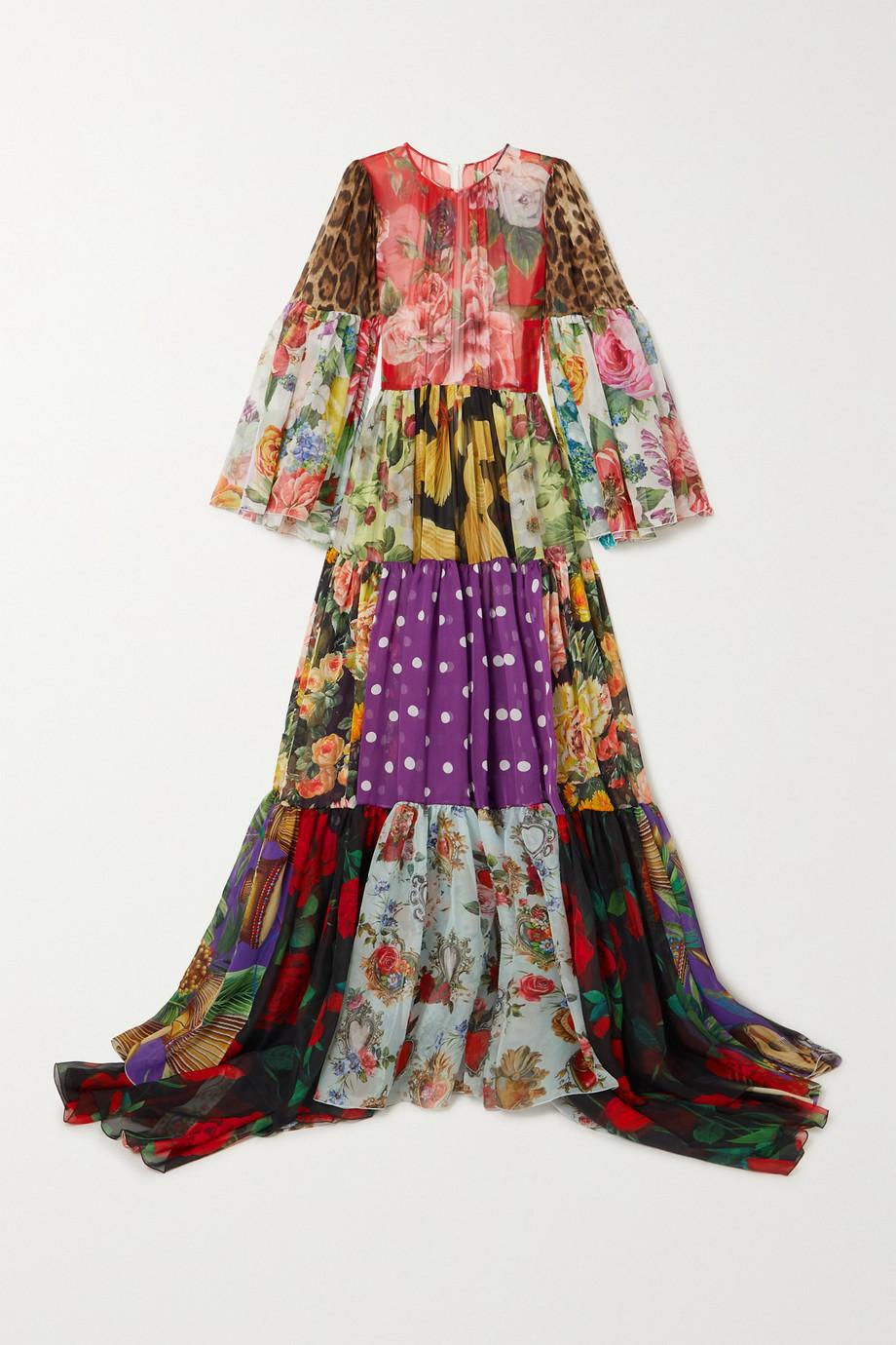 Dolce & Gabbana Robe du soir patchwork en mousseline de soie imprimée