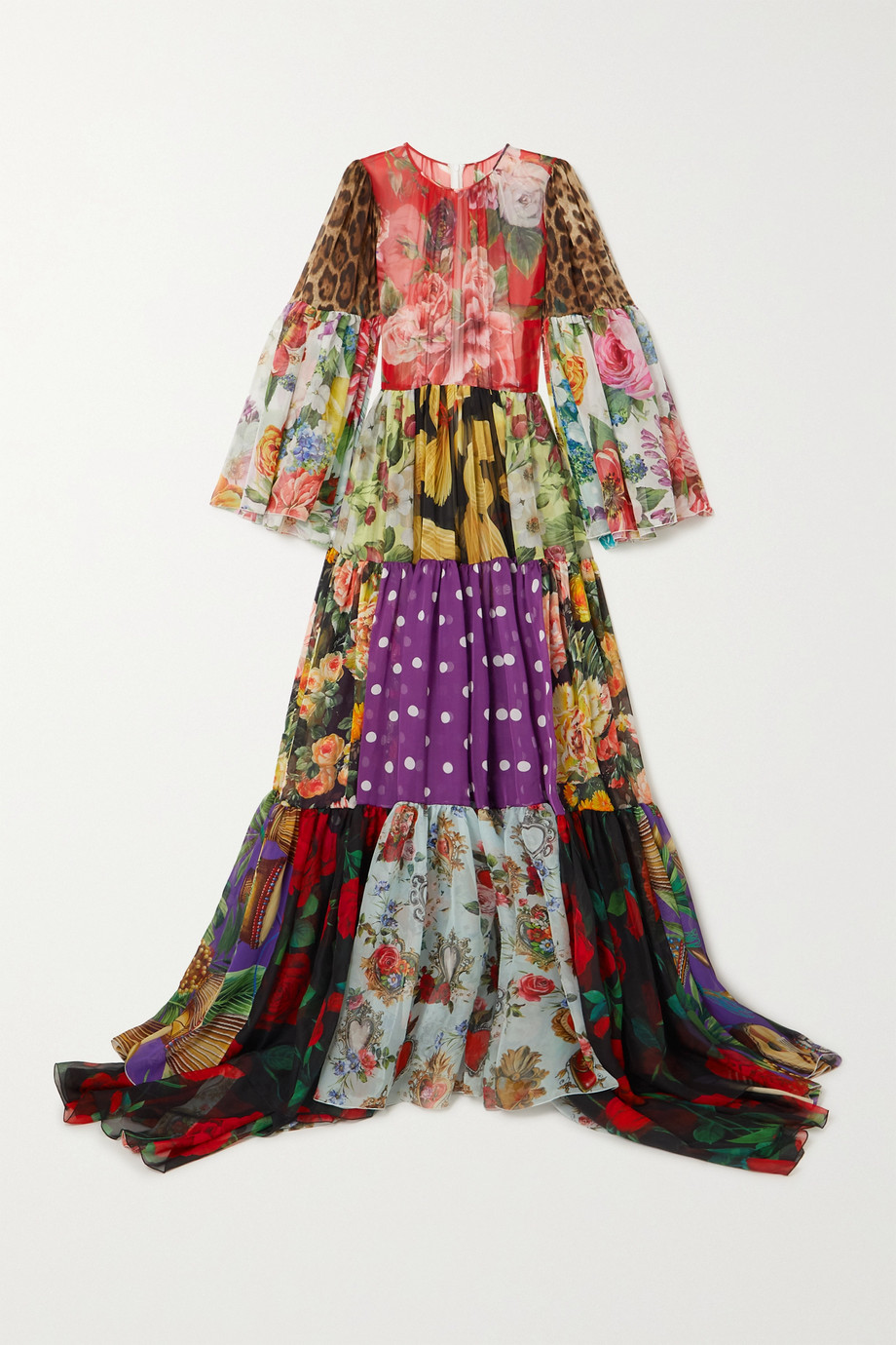Dolce & Gabbana Tiered patchwork printed silk-chiffon gown