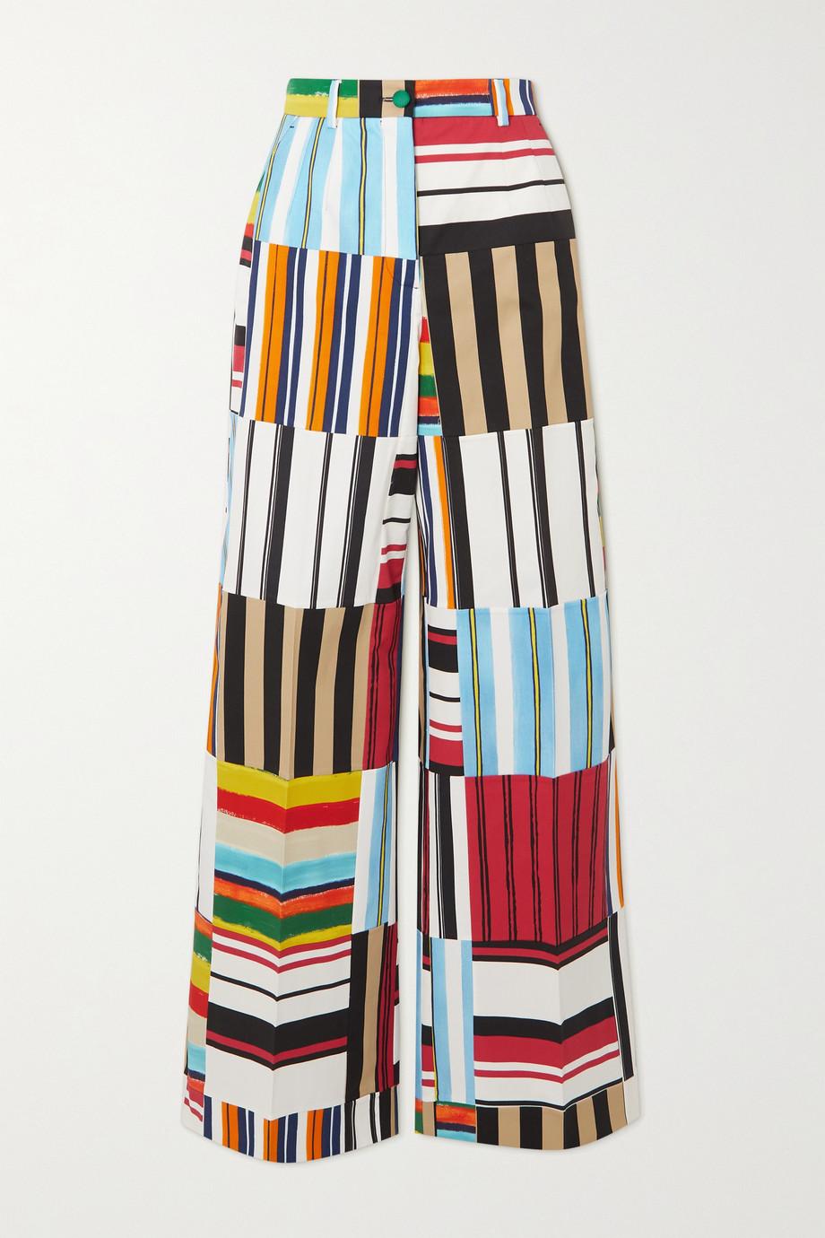 Dolce & Gabbana Patchwork cotton-blend twill wide-leg pants