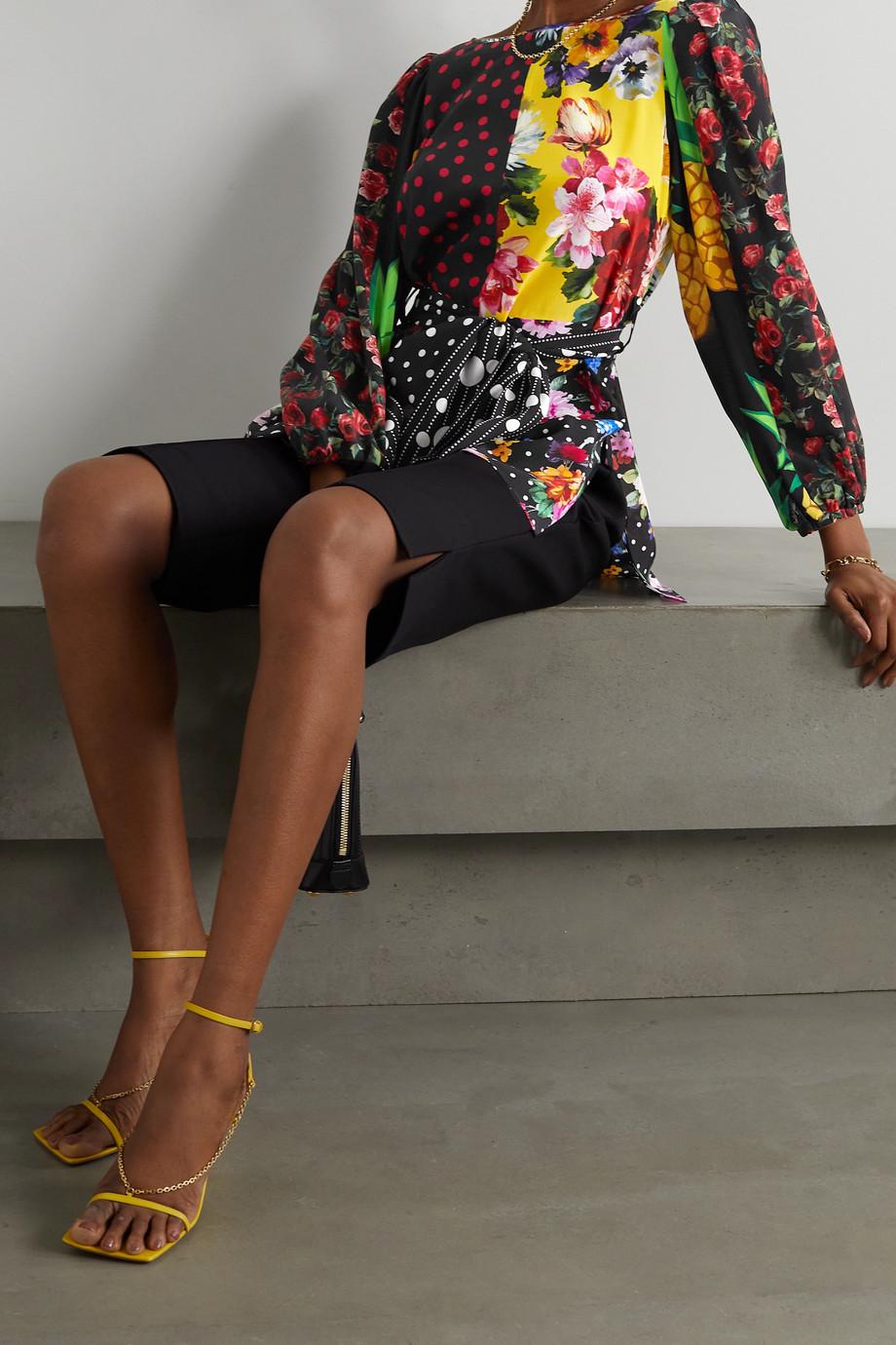 Dolce & Gabbana Belted patchwork silk-blend crepe de chine blouse