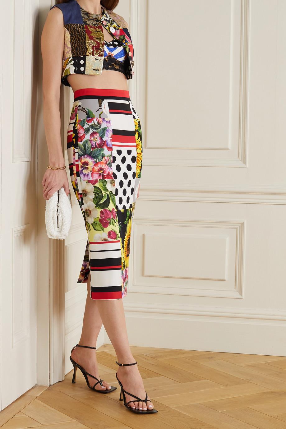 Dolce & Gabbana Jupe midi patchwork en soie mélangée