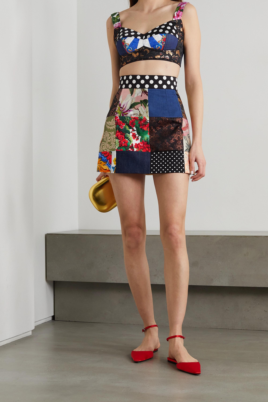 Dolce & Gabbana Minirock aus Twill, Denim und Jacquard in Patchwork-Optik