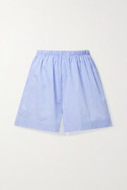 Baserange Ole striped organic cotton-poplin shorts