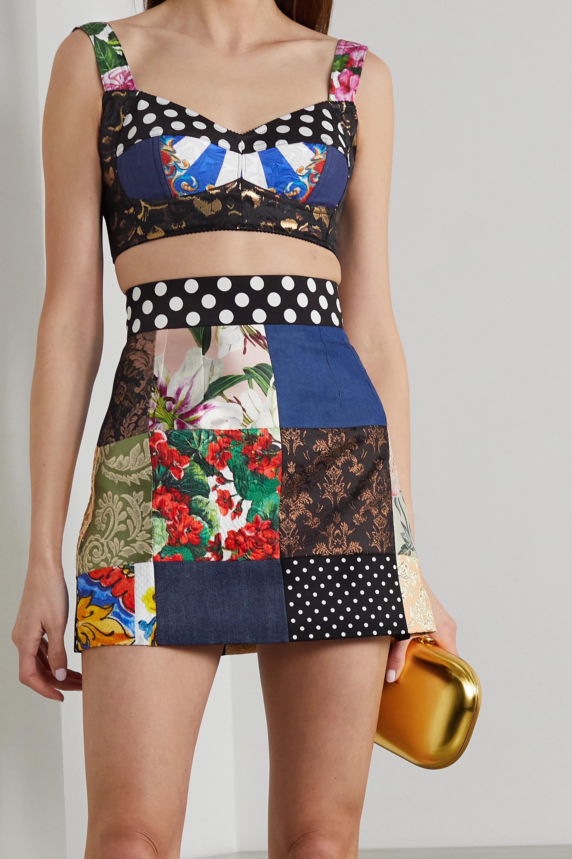 Dolce & Gabbana Bustier aus Jacquard, Denim und Twill in Patchwork-Optik
