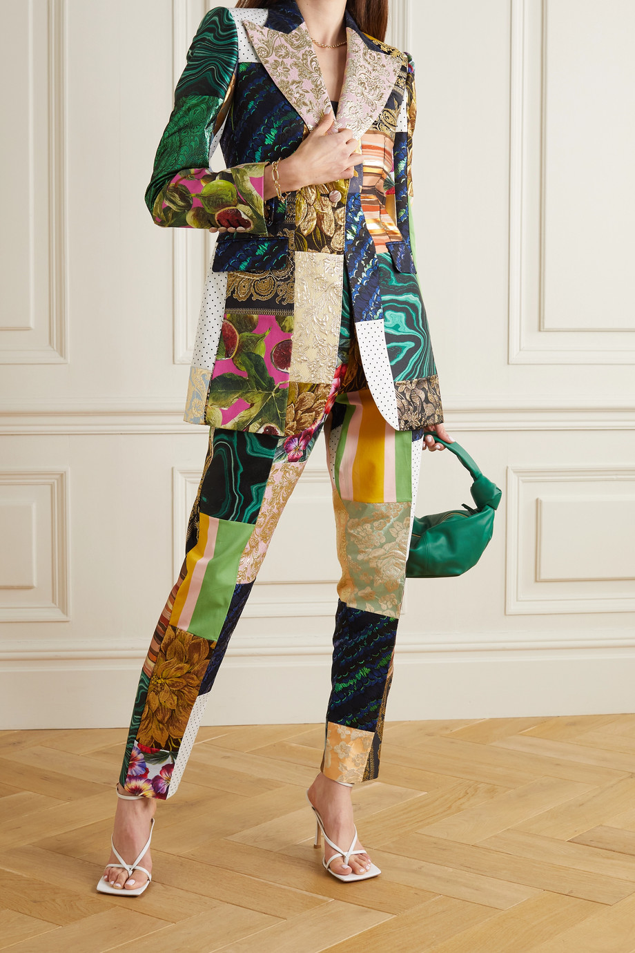 Dolce & Gabbana Patchwork jacquard, brocade and twill tapered pants