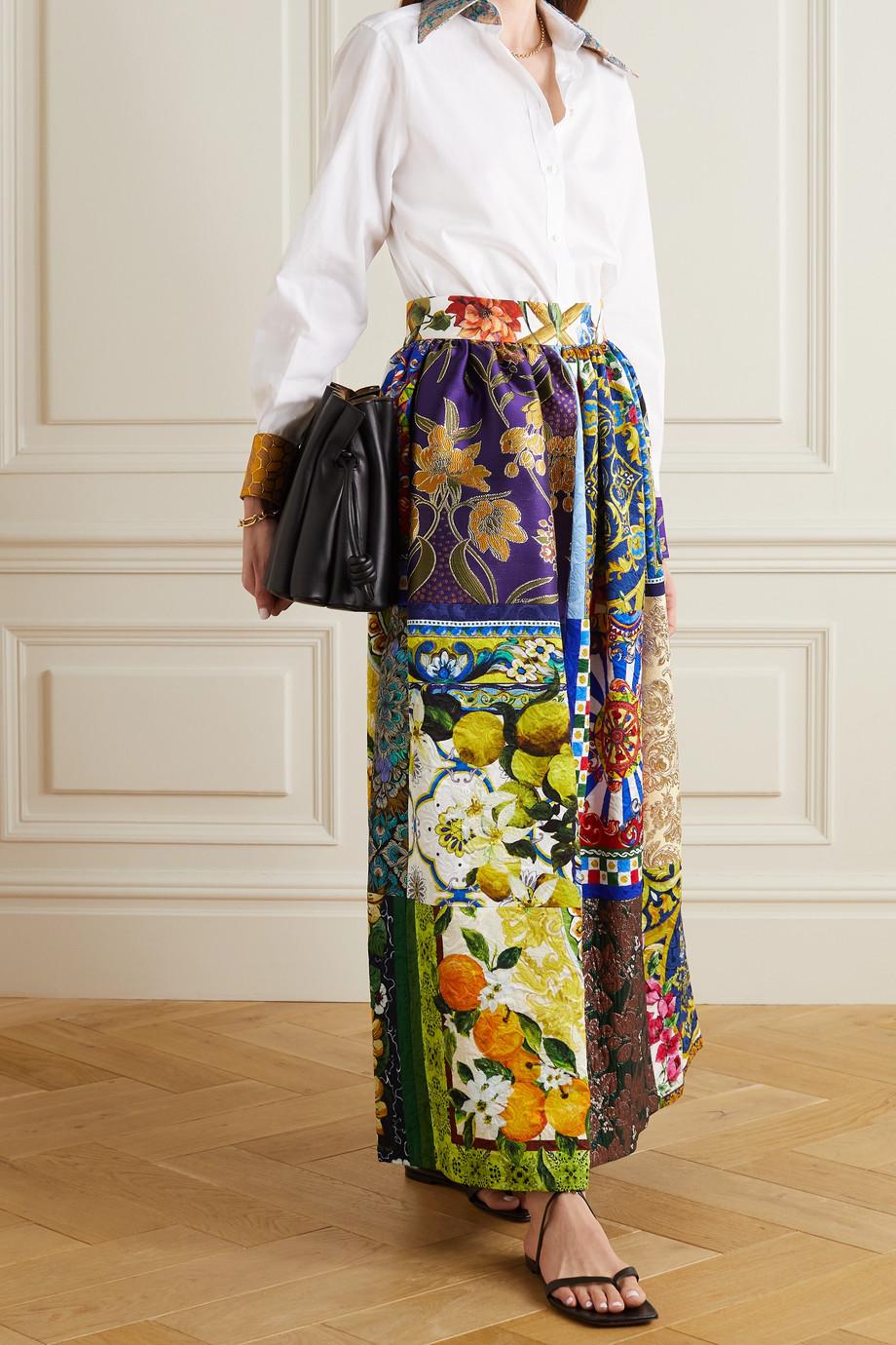 Dolce & Gabbana Chemise en popeline de coton mélangé et en jacquard
