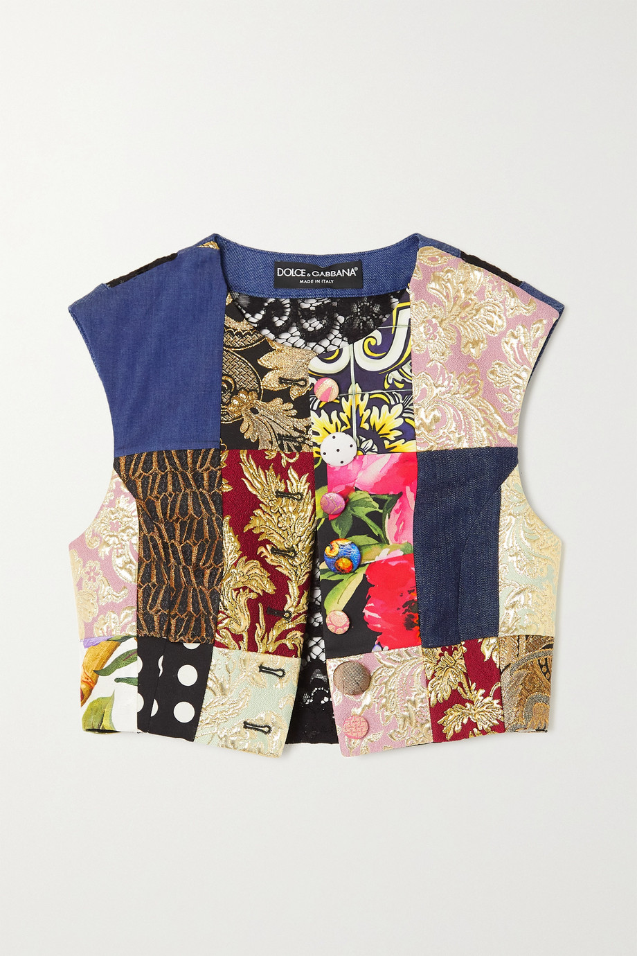Dolce & Gabbana Gilet raccourci patchwork en jacquard, serge, jean et dentelle