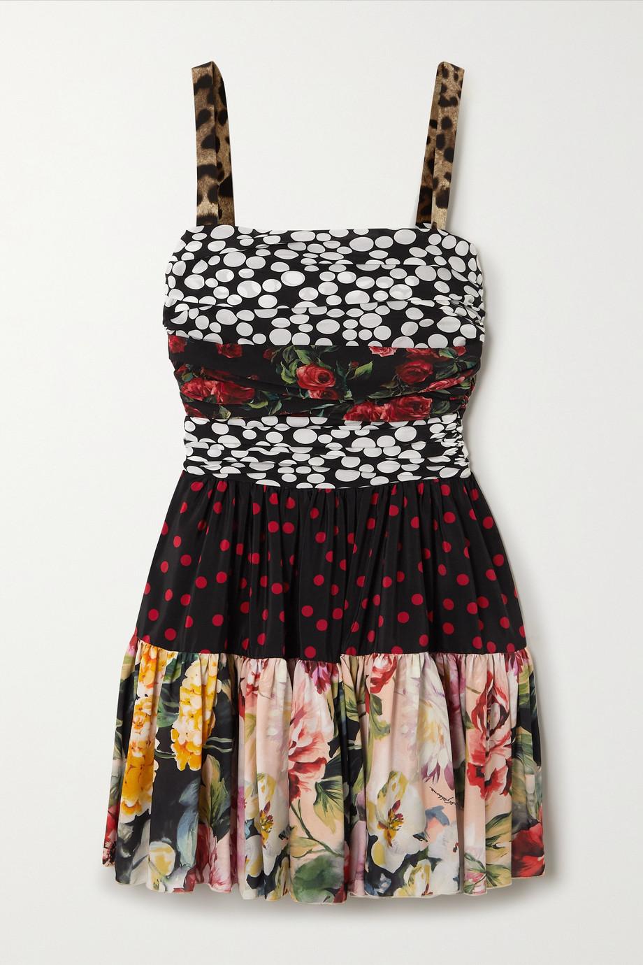 Dolce & Gabbana Mini-robe patchwork en crêpe de Chine de soie mélangée à fronces