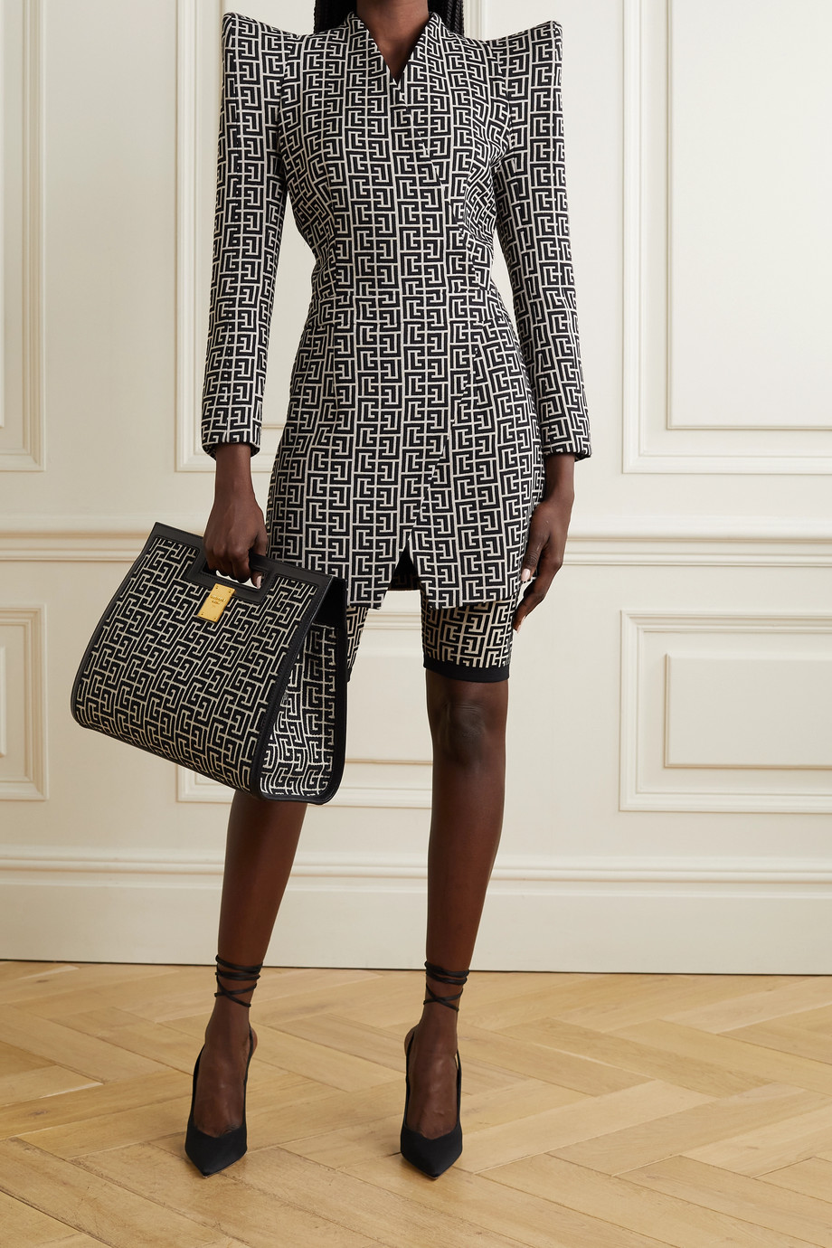 Balmain Wool-jacquard wrap-effect mini dress