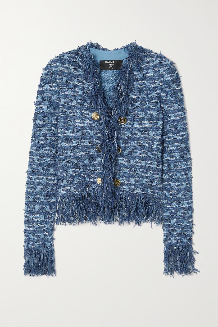 Balmain Button-embellished fringed tweed blazer