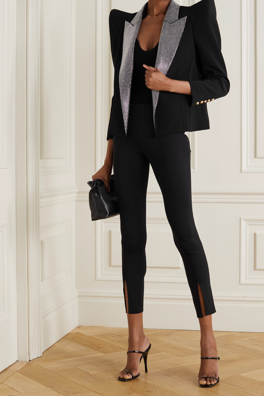 Balmain Crystal-embellished crepe blazer