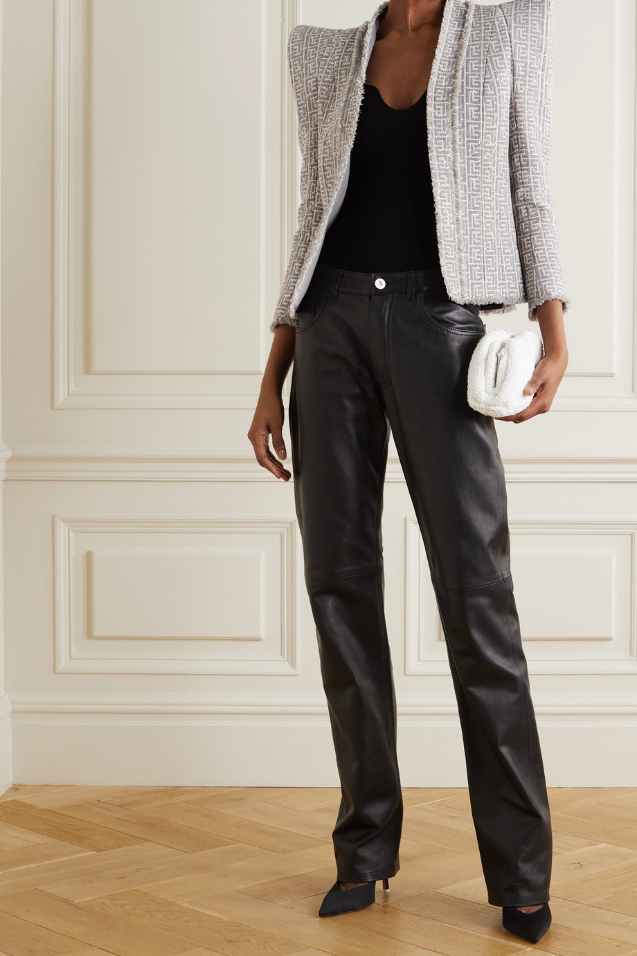 Balmain Fringed sequin-embellished tweed blazer