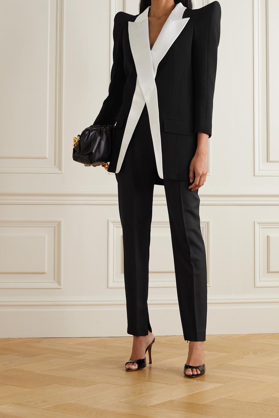Balmain Satin-trimmed crepe blazer