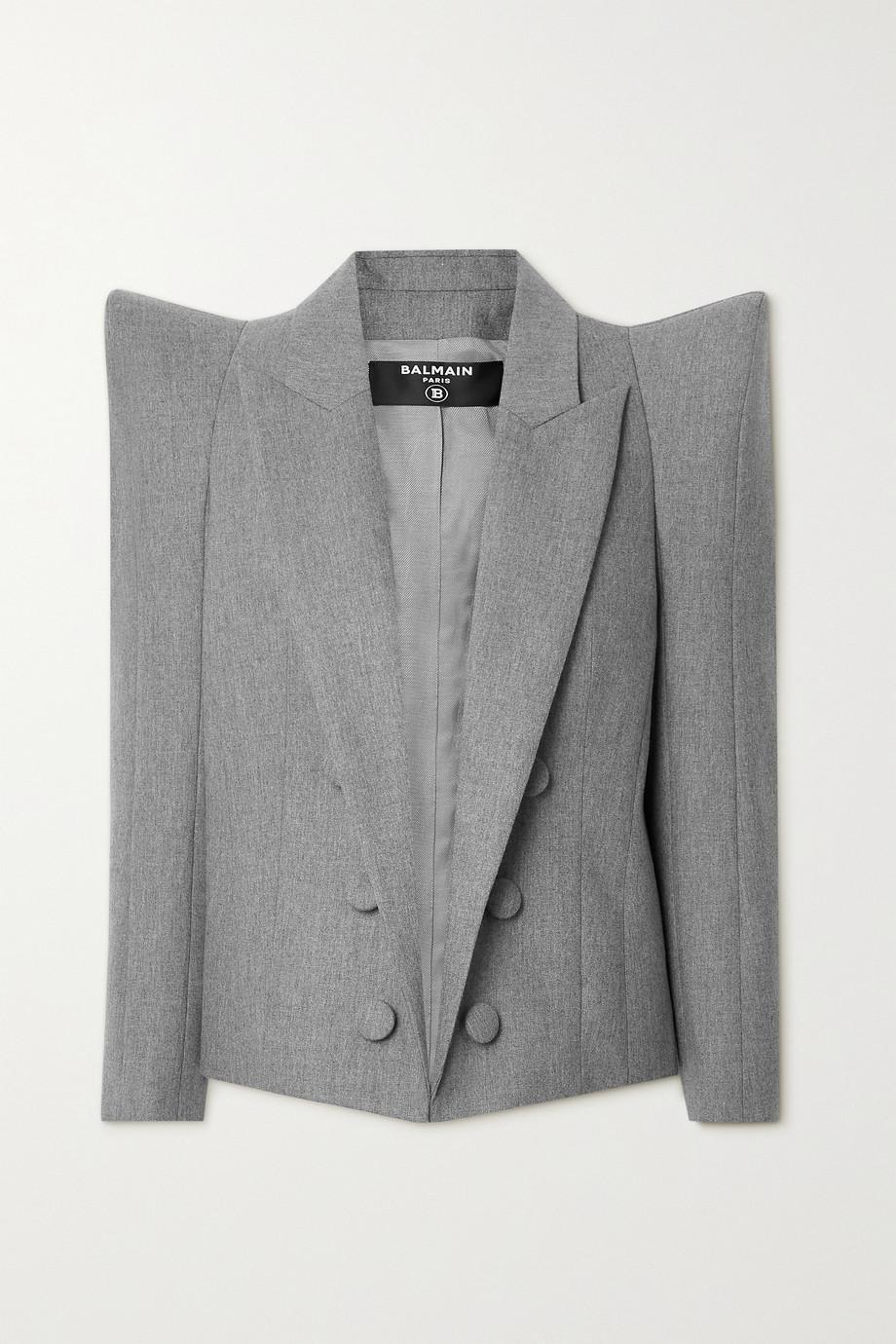 Balmain Wool-blend flannel blazer