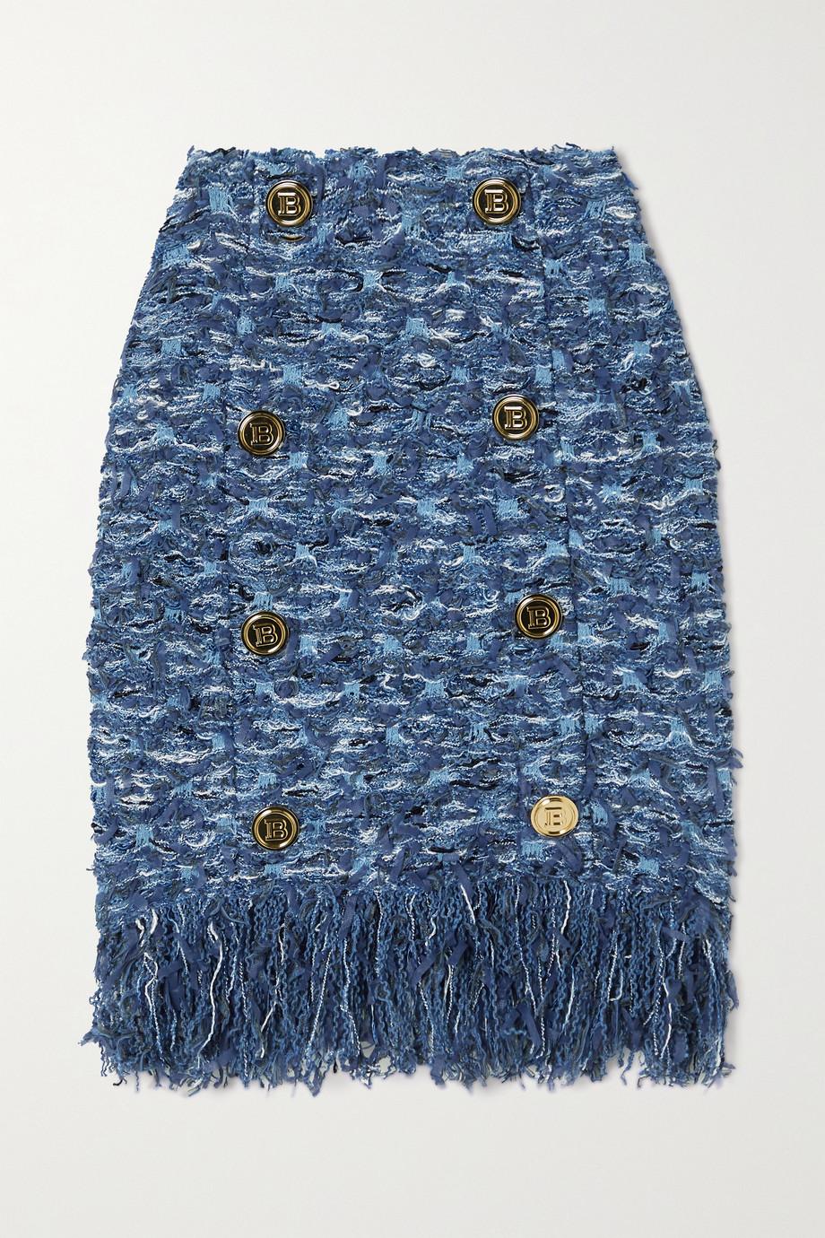 Balmain Minirock aus Tweed mit Fransen und Zierknöpfen