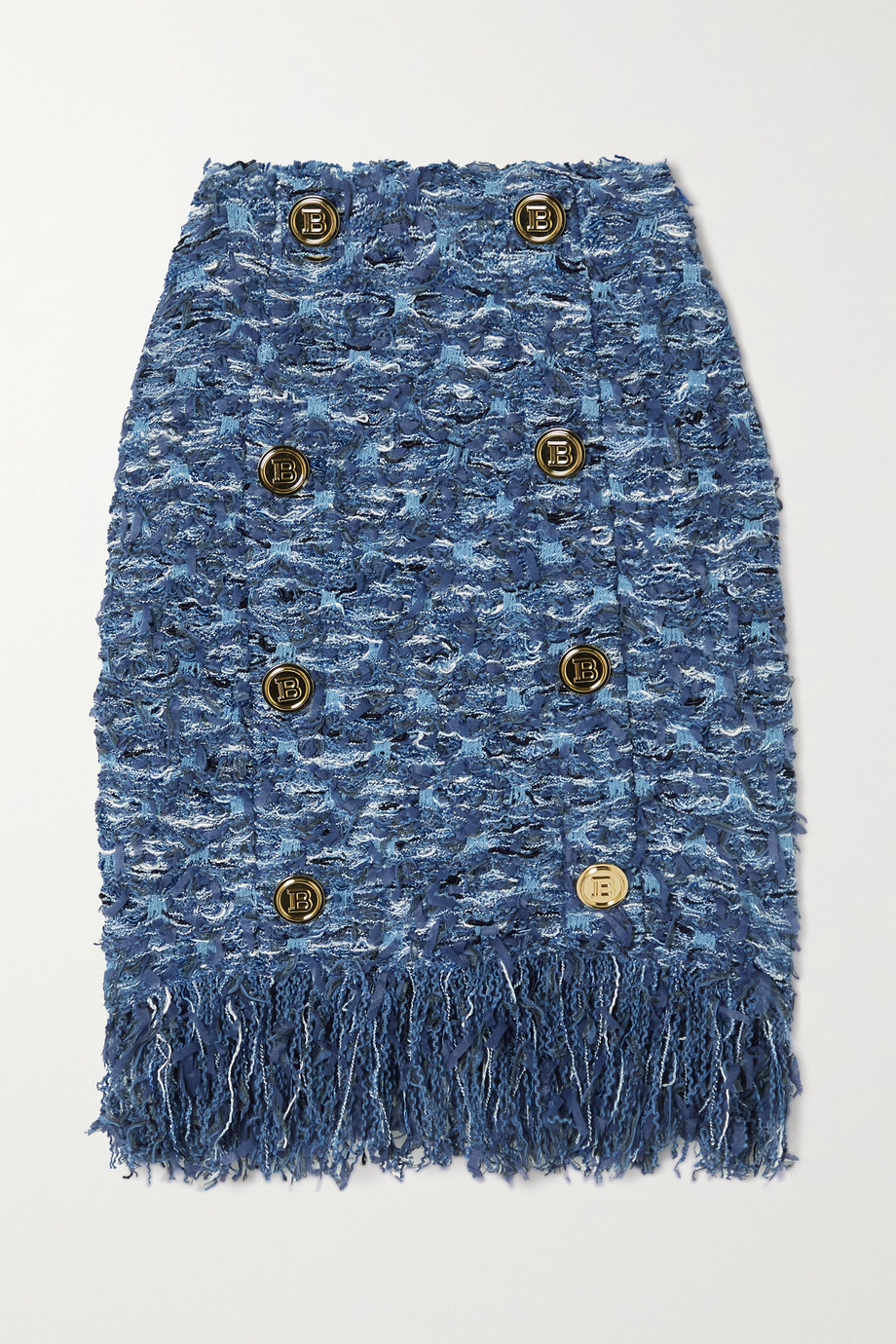 Balmain Button-embellished fringed tweed mini skirt