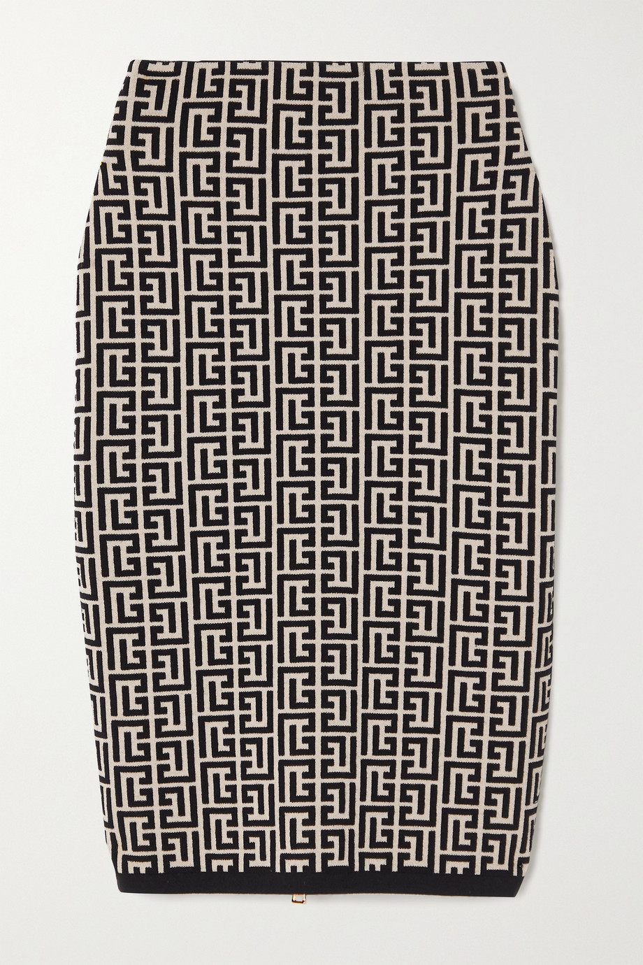 Balmain Jacquard-knit wool-blend skirt