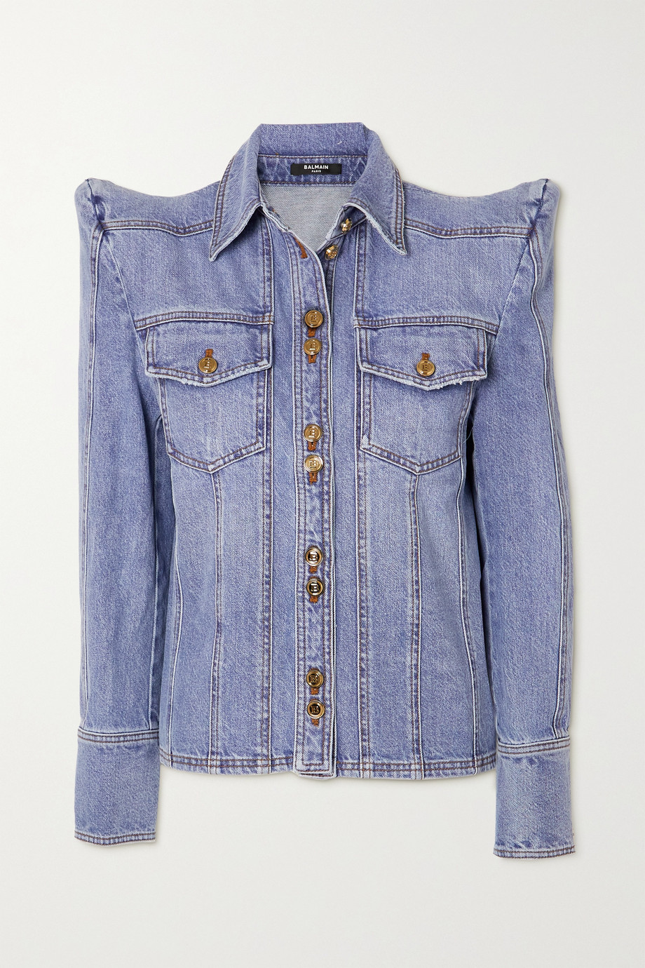 Balmain Button-embellished denim shirt