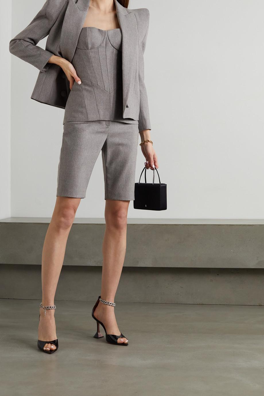 Balmain Lace-up wool-blend flannel bustier top