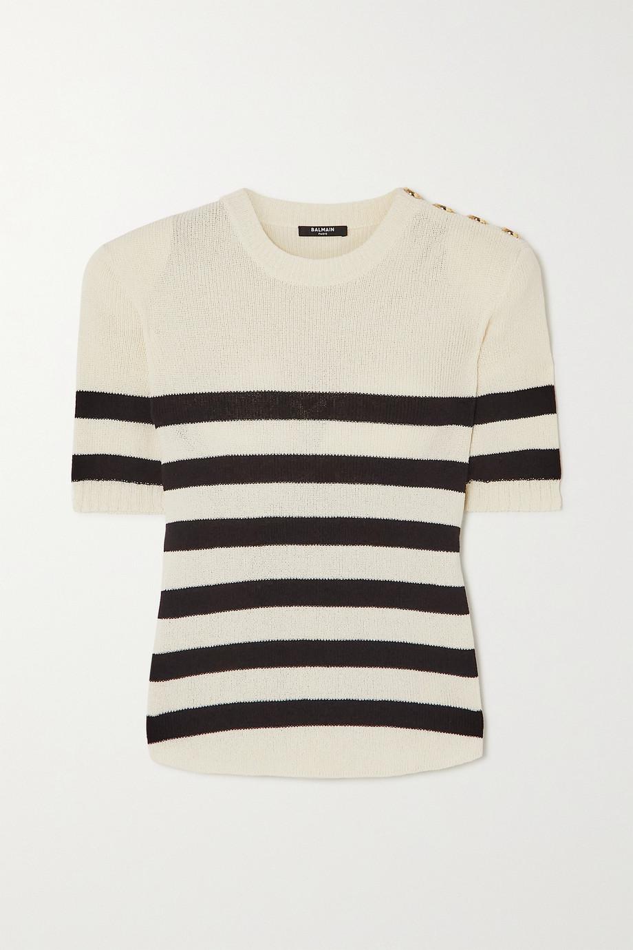 Balmain Button-embellished striped cotton-blend T-shirt