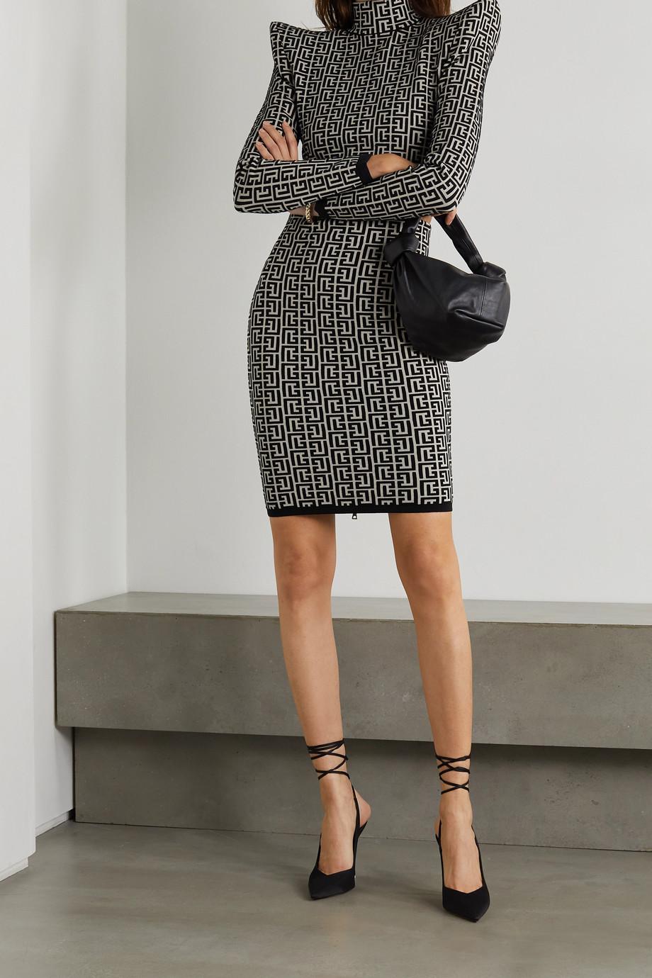 Balmain Cropped jacquard-knit top